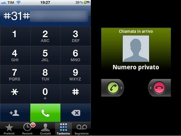chiamate nascoste numero privato