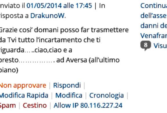 Continua lo stalking mediatico dell'assessore Scarabeo Massimiliano ai danni del gestore del blog Venafrano.org