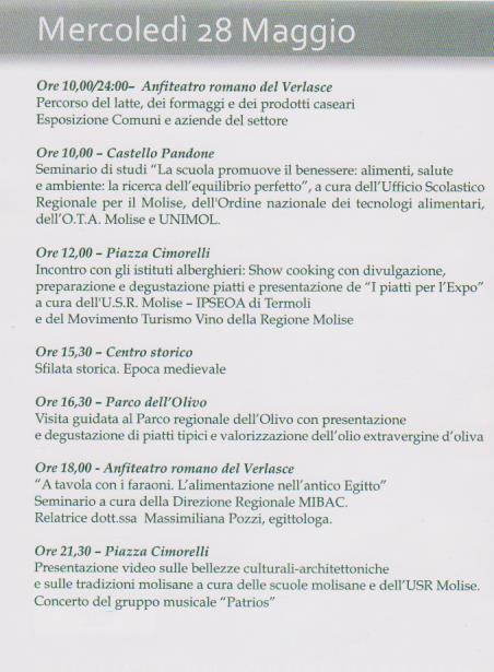 venafro programma 28 maggio 2014