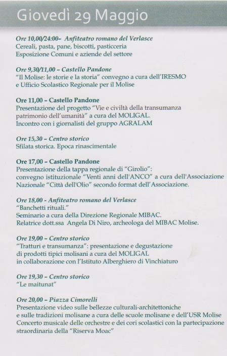 venafro programma 29 maggio 2014