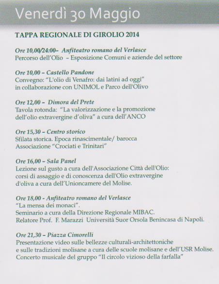 venafro programma 30 maggio 2014