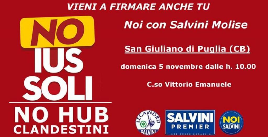 Photo of No ai migranti e allo ius soli: 'Noi con Salvini' a San Giuliano di Puglia