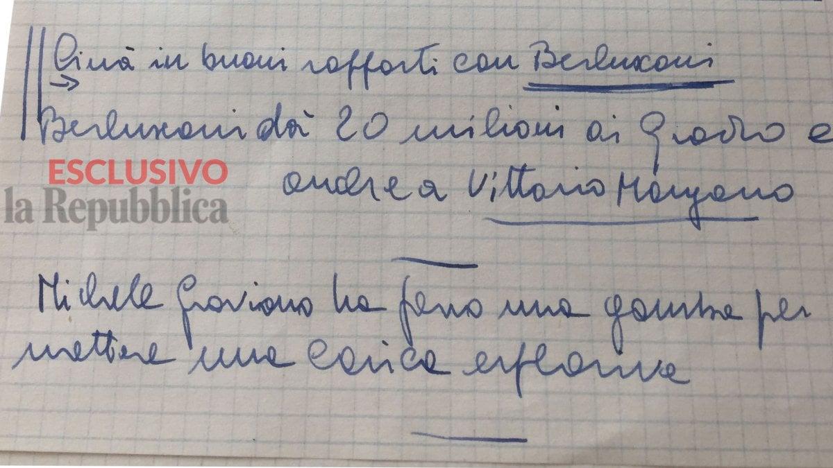 """Photo of """"Berlusconi paga i boss di Cosa nostra"""". Ecco l'appunto di Falcone ritrovato nel suo ufficio"""