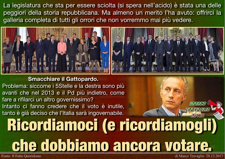Photo of Mai più  Editoriale di Marco Travaglio da Il Fatto Quotidiano 28 dicembre 2017  …